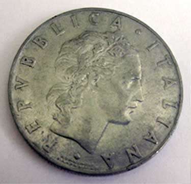 1956 Italian Coin Front