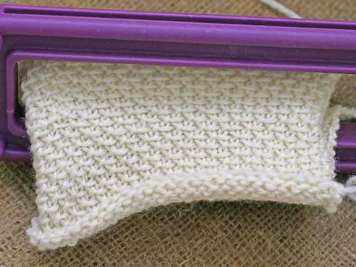 Knitting on Sock Loom